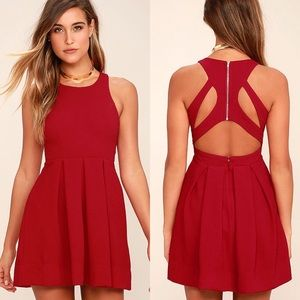 Lulu's Test Drive Wine Red Dress